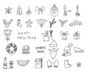 Cute sketch doodle Happy New Year set with santa claus, deer, goat, sheep, Chinese lantern, cacao, tree, gift, owl, snowman, socks. Vector eps 10.