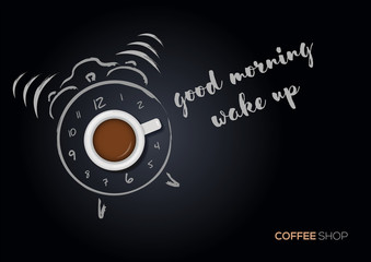 Cup of coffee with hand drawn alarm clock. Good morning concept. Vector illustration