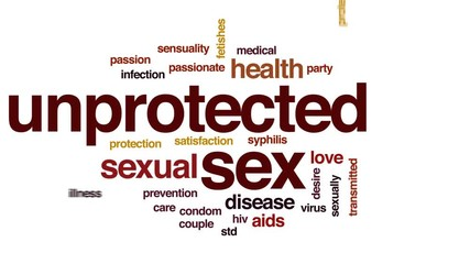 Unprotected sex animated word cloud, text design animation.