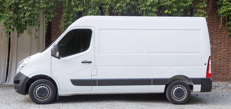 Shipping van outdoor in the city