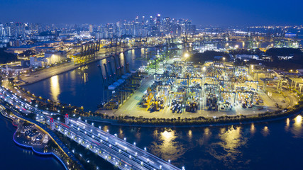 Singapore Port with Singapore City background