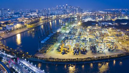 Singapore Port from Sentosa Island