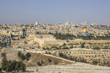 Panoramic view to Jerusalem Old city and the Temple Mount, Dome of the Rock from the Mount of Olives in Jerusalem, Israel