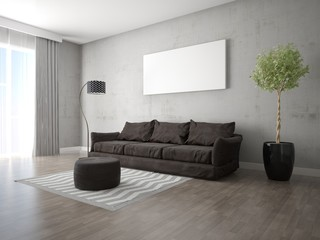 Mock up a fashionable living room with a stylish sofa and hipster background.