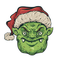 Christmas angry goblin head
