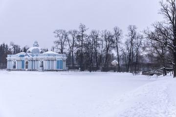 The Grotto pavilion in Catherine park. Winter landscape in Pushkin, Russia