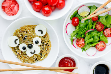 Japanese udon pasta with tofu cheese shaped bear, bento food art for kids