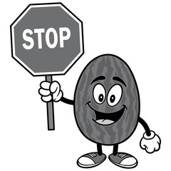Watermelon with Stop Sign Illustration