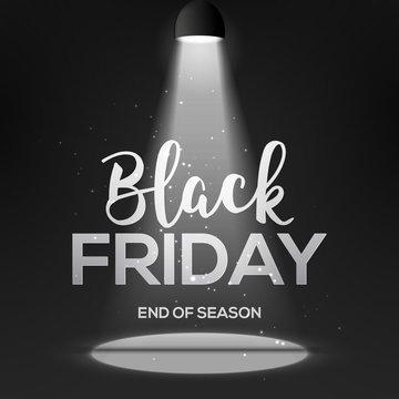 Black friday banner with light. Dark spotlight design vackground with black friday poster