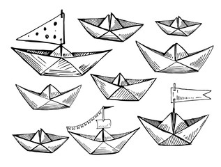 Paper boats  planes