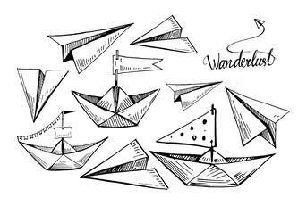 Set of paper boats and planes