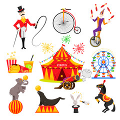 a set of images on a circus theme, circus performances of trained animals, a trainer and a clown