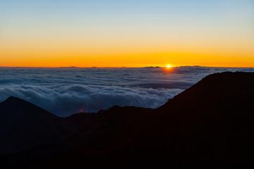 Sunrise at the  Haleakalā National Park  summit, island of Maui, Hawaii