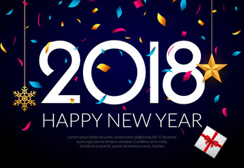 Happy New Year 2018 background decoration. Greeting card design template 2018 confetti. Holiday of 2018 year