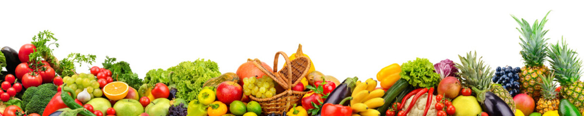 Panoramic collection fruits and vegetables for skinali isolated on white