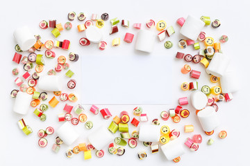 lollipops, candy, top view flat lay on colorful background