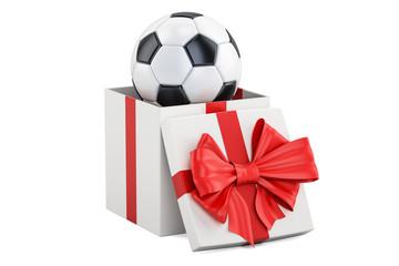 Gift concept, soccer ball inside gift box. 3D rendering