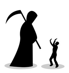 The silhouette of death in a cloak and with a scythe came to the man. Man is afraid of death and is closed by hands