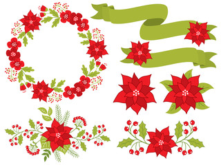 Vector Christmas and New Year Set with Floral Wreath, Bouquets and Ribbons