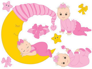 Vector Set with Cute Baby Girls, the Moon and Diapers