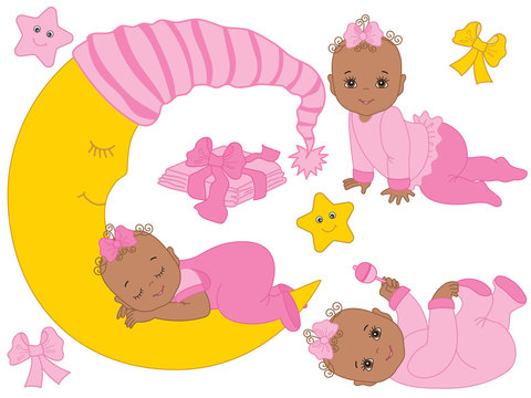 Vector Set with Cute African American Baby Girls, the Moon and Diapers