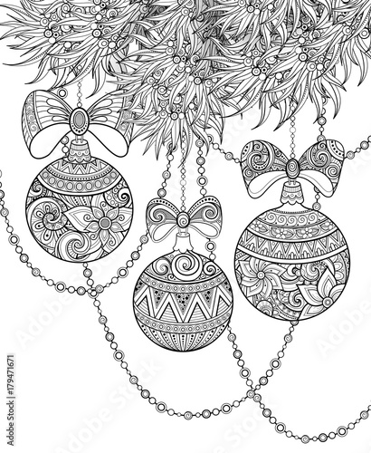 Monochrome Merry Christmas Illustration Ethnic Motifs Ball Bow Angel Decorations On The