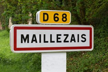 Panneau entrée de ville : Maillezais, Vendée, marais poitevin.