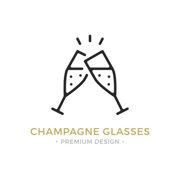 Vector champagne glasses icon. Celebration, holidays, toast concepts. Two champagne flutes. Premium quality graphic design. Outline symbol, sign, simple thin line icon