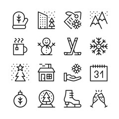 Winter season line icons set. Winter activities, objects, holidays concepts. Modern graphic design concepts, black simple outline elements collection. Vector line icons