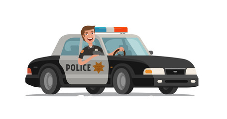 Happy policeman goes on police car with flashing lights. Cartoon vector illustration