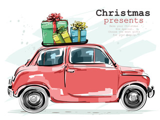 Stylish retro car with Christmas gifts. Hand drawn red car. Sketch. Vector illustration.