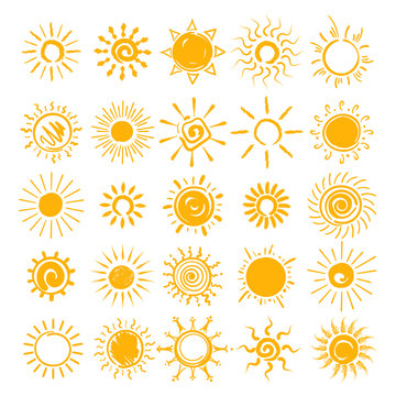 Sun illustration. Vector hands drawn sun icons, doodle cartoon morning summer sketch suns isolated on white background