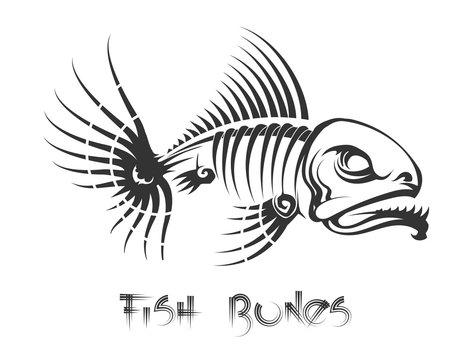 Fish bones tattoo. Aggressive toothy fish leftovers vector illustration