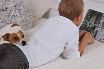 Boy and dog at home, winter day , cozy lifestyle