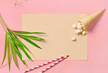 Wall Mural - Tropical leaf and ice cream cone