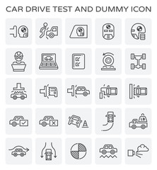 Car test drive and dummy vector icon set.