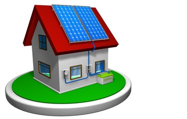 3D model of a small house with a solar energy system installed, with 4 solar panels on the red roof on a white disk, with a mailbox in the front. 3D render. - Renewable Energy
