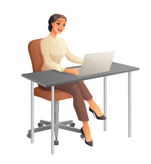 Business woman working on computer. Isolated vector illustration.