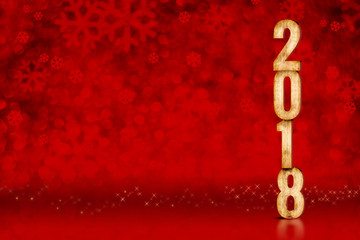 Happy New Year 2018 number at red snowflakes sparkling bokeh lights,Leave space for adding content, Holiday greeting card,3d rendering
