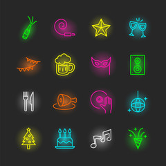 party neon icon set