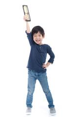 Asian child holding Soroban abacus