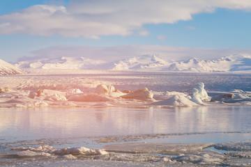 Winter season Jakulsarlon lagoon, Iceland natural landscape background