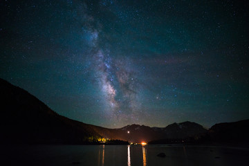 Milky way over the June lake, California