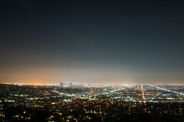 Amazing view of Los Angeles city at night