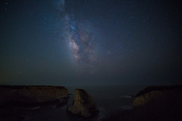 Milky way over Shark fin cove, California