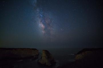 Milky way over Shark fin cove, California