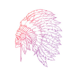 Indian chief. Skull with feathers. Logo, icon, sticker, mascot. Vector illustration, eps 10.