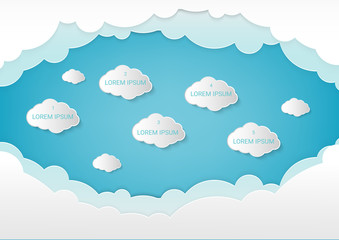 Paper art with cloud on blue sky. Copy space for text. concept cloud service technology