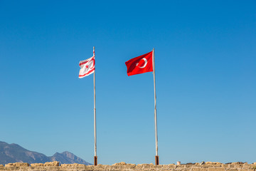 Flags of Turkey and North Cyprus