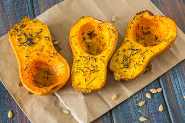 Baked pumpkin with spices and olive oil